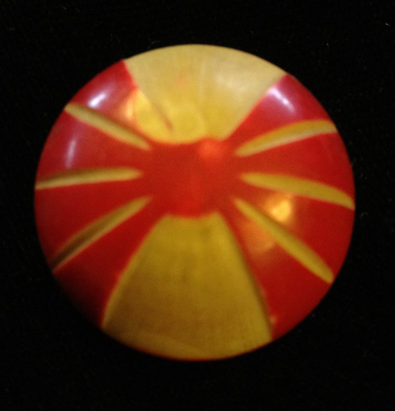 Vintage Celluloid Red & Cream Hollow Dome Button VINTAGE Buttons 1 inch size - SALE!  VB14