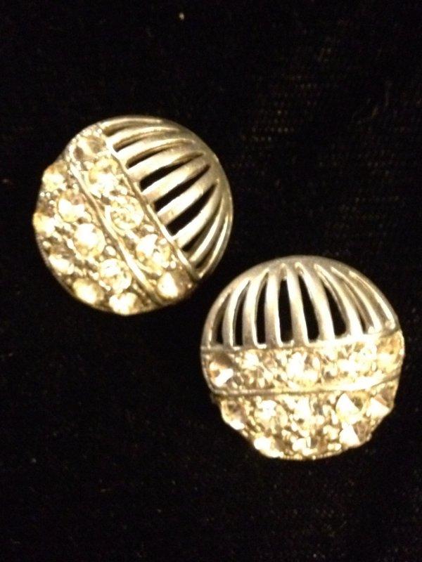 Vintage Silver Tone Pierced Metal Rhinestone Crystal Shank Buttons TWO Button Set VB17