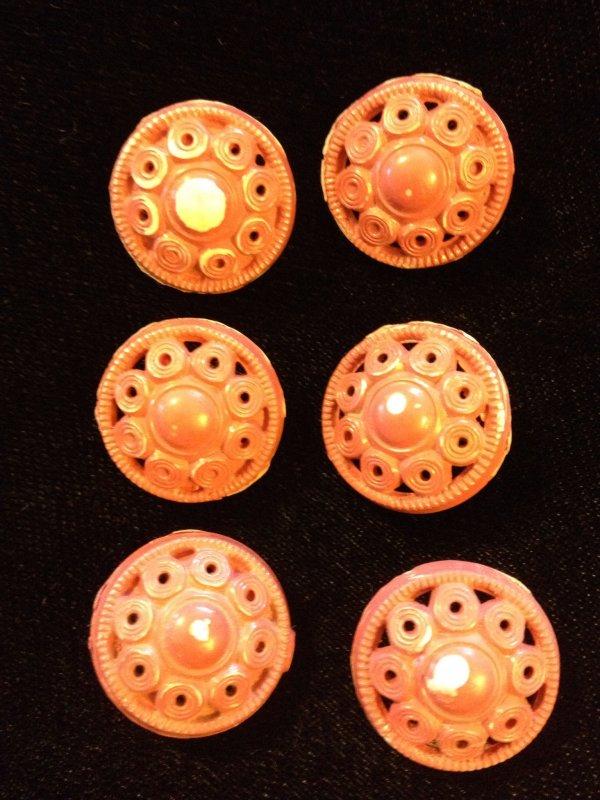 Vintage Pierced Dimensional  Flower Plastic Button Set of SIX VINTAGE Buttons 3/4 Inch size - SALE!  per set VB37