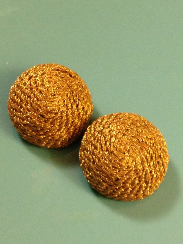 Vintage Passimenteries French  Gold Braid over Celluloid Button Set of TWO Gold Fabric VINTAGE Buttons 1 1/8