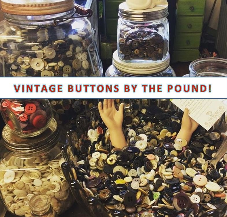MYSTERY SURPRISE - VINTAGE BUTTONS BY THE POUND - MYSTERY SURPRISE GRAB BAG