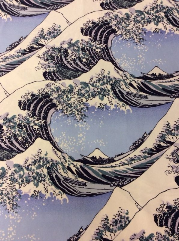 Hokusai Wave Woodcut Heavy Canvas  Japanese Tsunami Waves Art Cotton Fabric Quilt Fabric EK05