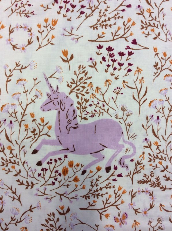 Rare, Out of Print! Heather Ross Lavender Unicorn Flowers Enchanted Far Far Away Cotton Quilt Fabric WI10