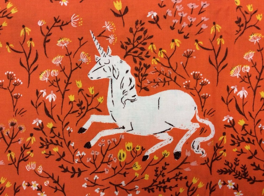 Rare, Out of Print! Heather Ross Unicorn Orange Flowers Enchanted Cotton Fabric Quilt Fabric WI13