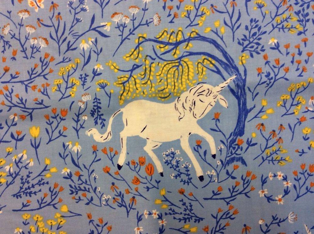 Heather Ross Unicorn Blue Flowers Enchanted Far Far Away Cotton Quilt Fabric WI14