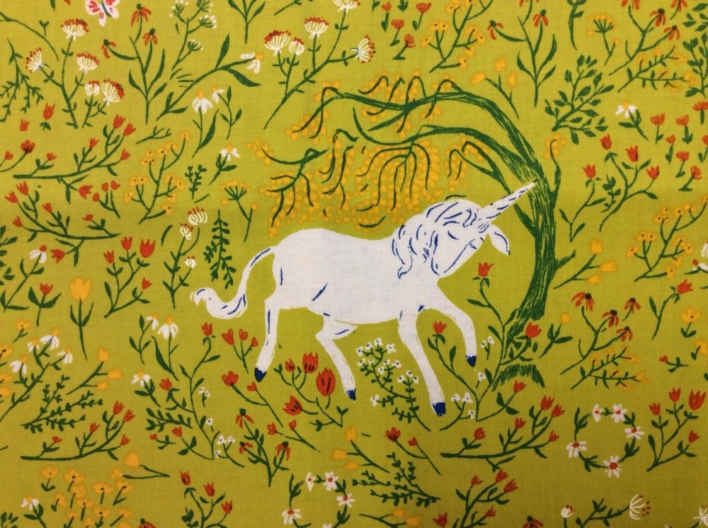 Rare! Out of Print Heather Ross Unicorn Green Flowers Enchanted Cotton Fabric Quilt Fabric WI15