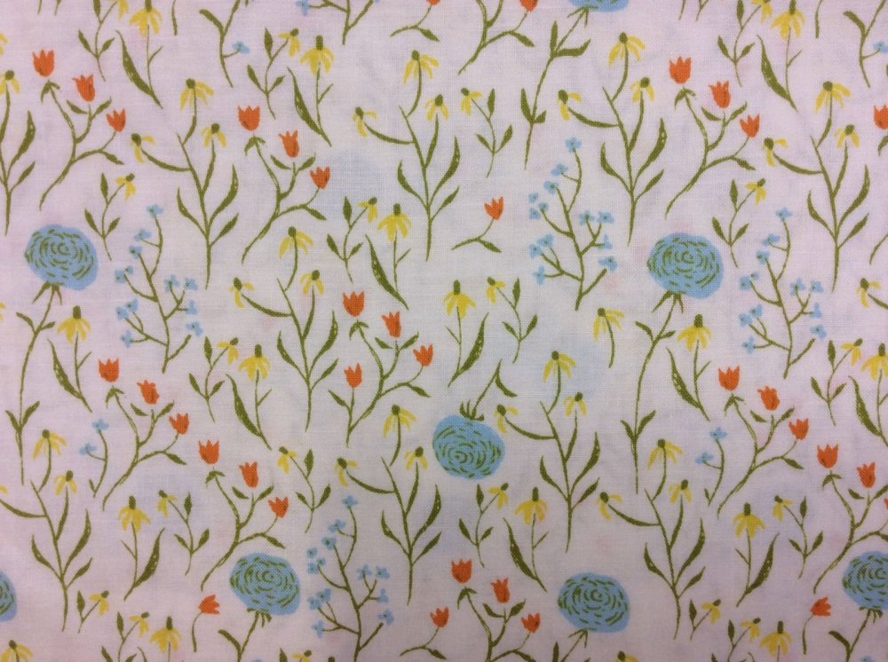 Rare, Out of Print! Heather Ross Blue Clovers Wild Flowers Field Meadow Far Far Away Cotton Quilt Fabric WI16
