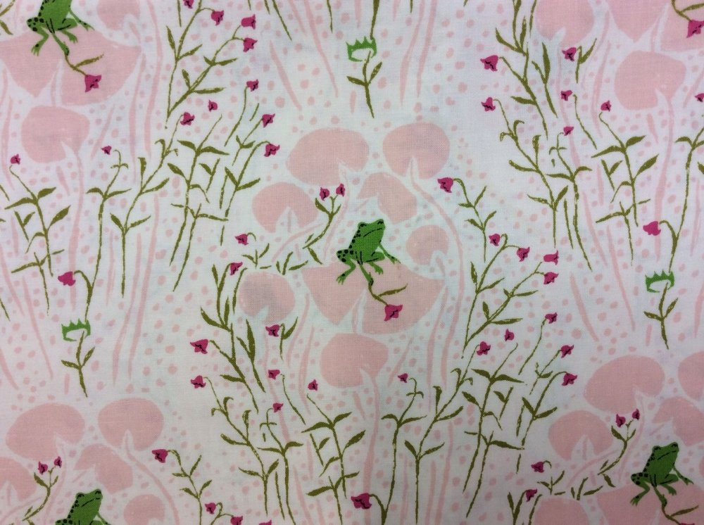 Rare, Out of Print! Heather Ross Blue Little Frogs Pink Lily Pads Cotton Fabric Quilt Fabric WI17