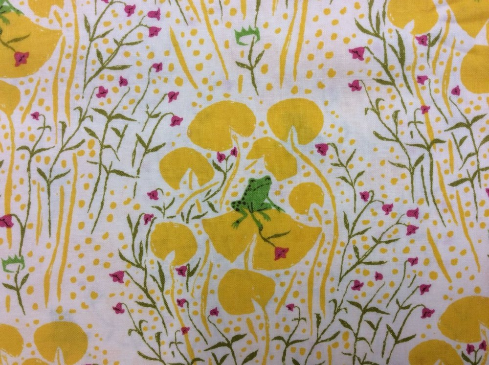 Rare, Out of Print! Heather Ross Little Frogs Yellow Lily Pads Cotton Fabric Quilt Fabric WI19