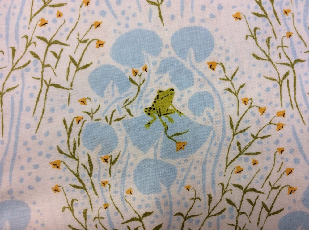 Rare, Out of Print! HEATHER ROSS Far Far Away Retro Frogs Lily Pads Cotton Quilt Fabric WI20