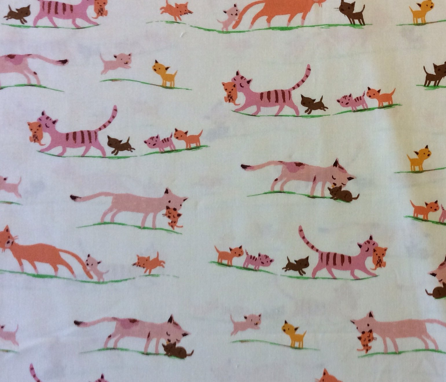 HEATHER ROSS Kitty Cat Kitten Baby Kitties Tiger Lily Cotton Quilt Fabric Wi51