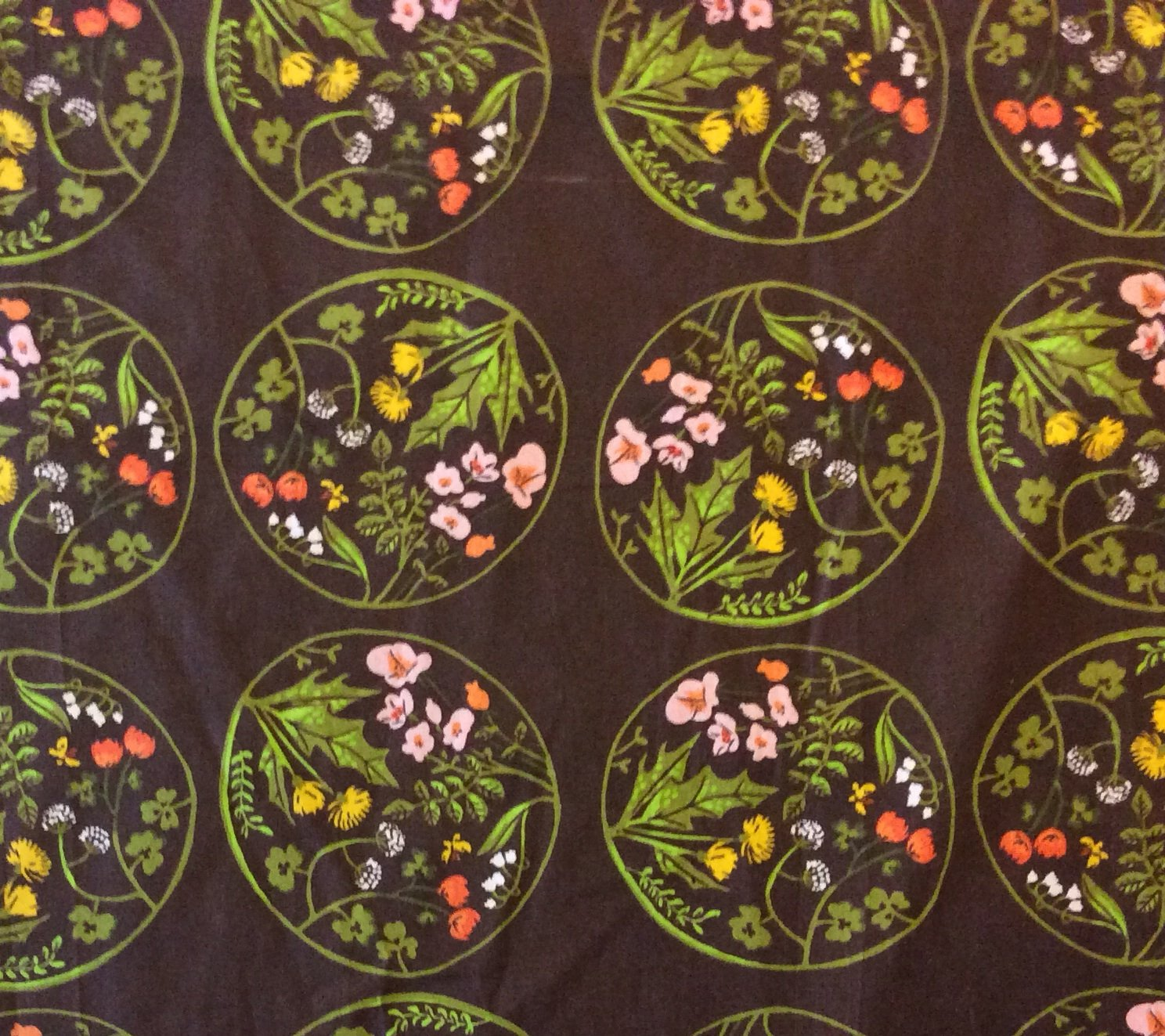 Heather Ross Floral Medallion Tiger Lily Wildflower Cotton Quilt Fabric WI50
