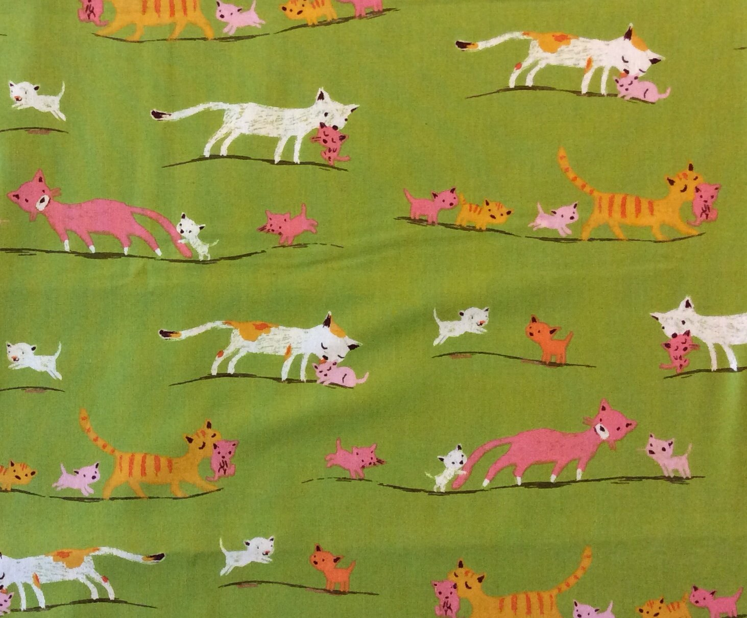 HEATHER ROSS Kitty Cat Kitten Baby Kitties Tiger Lily Cotton Quilt Fabric Wi53