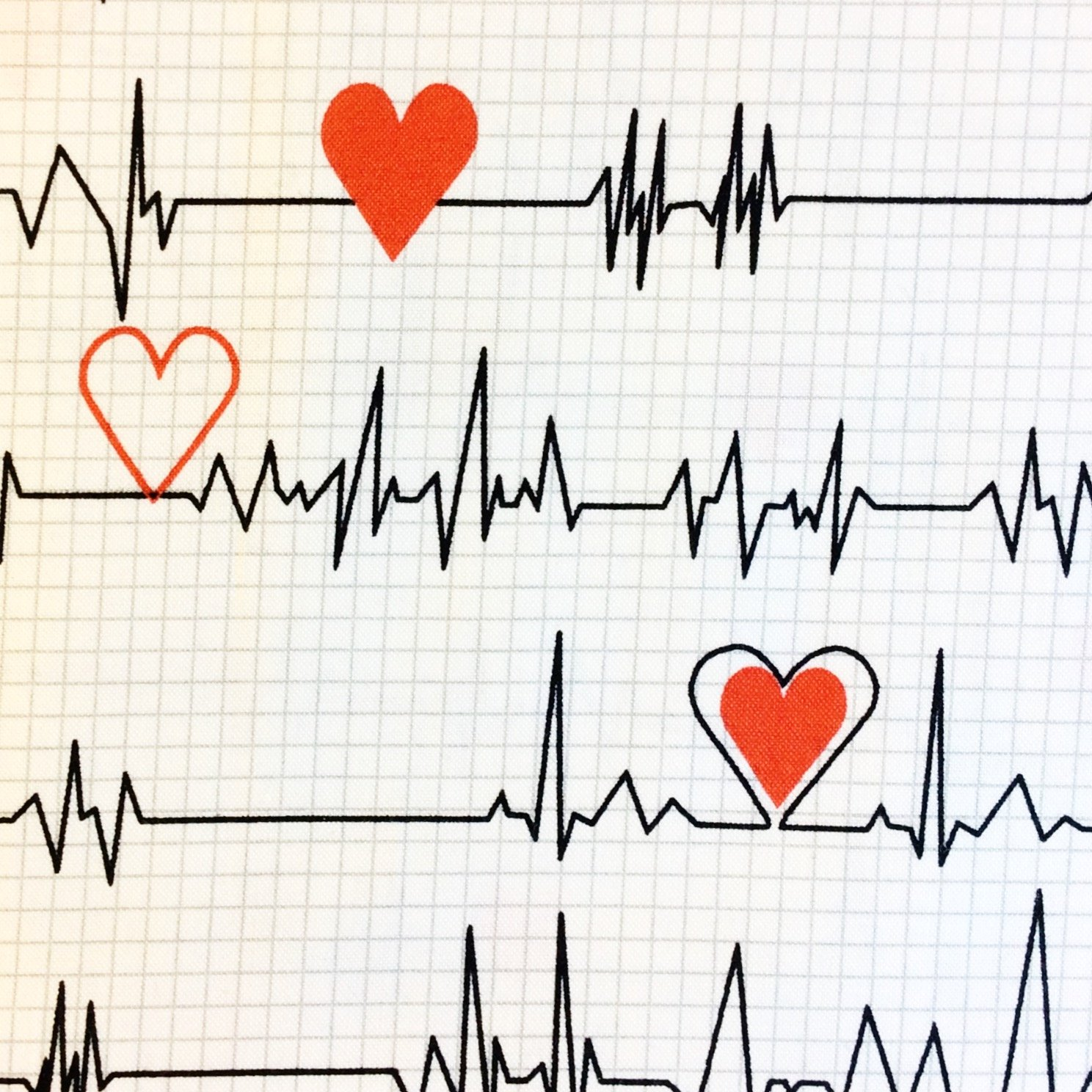 Heart Rate Nurse Doctor Hospital Monitor Graph Scrubs Cotton Quilt Fabric Wi86