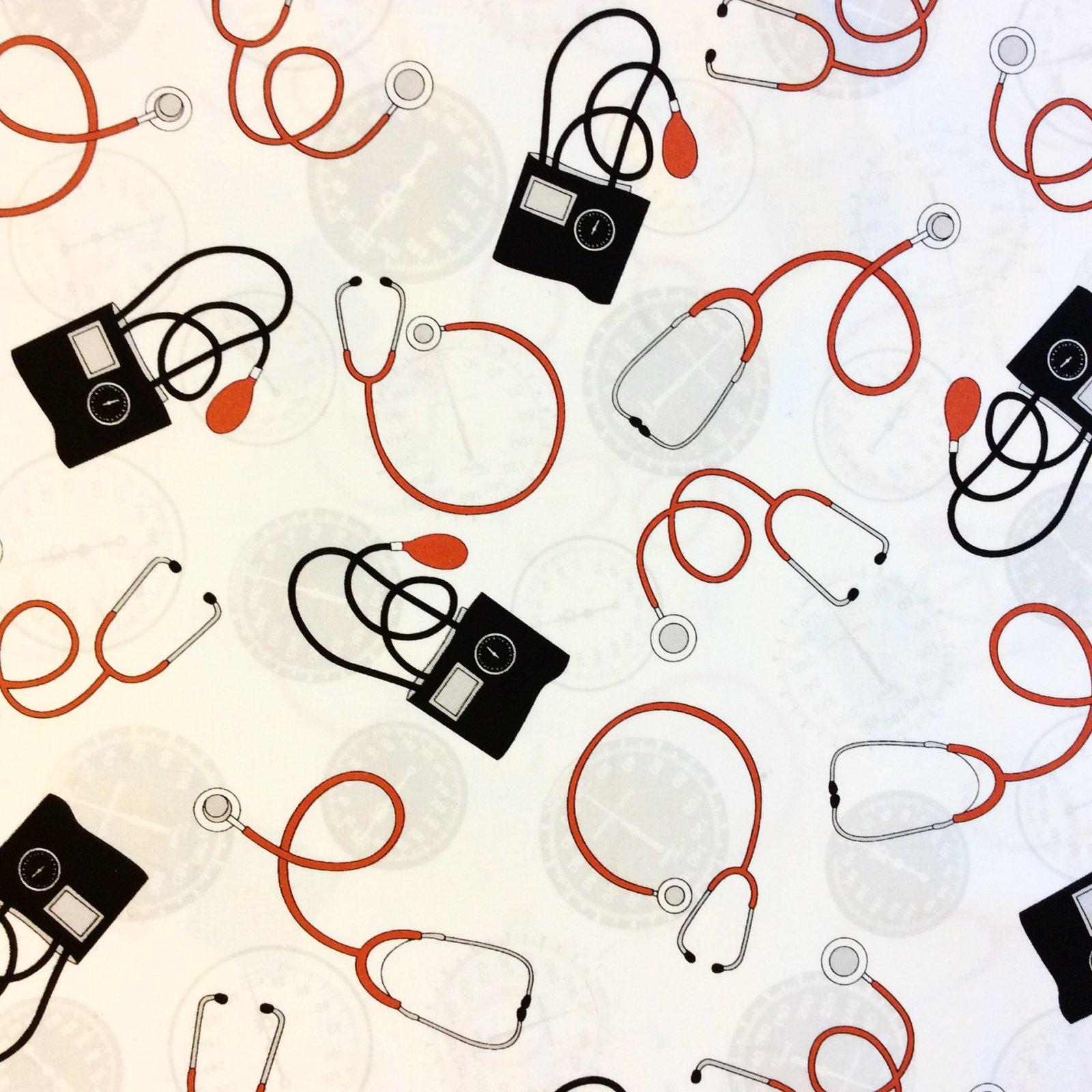 Blood Pressure Nurse Doctor Hospital Scrubs Heart Gauge Cotton Quilt Fabric WI87