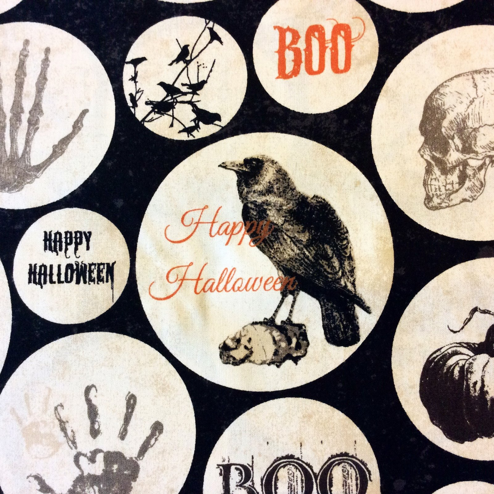 WI93 Halloween Skulls Raven Crow Spooky Holiday Boo Witch Cotton Quilt Fabric