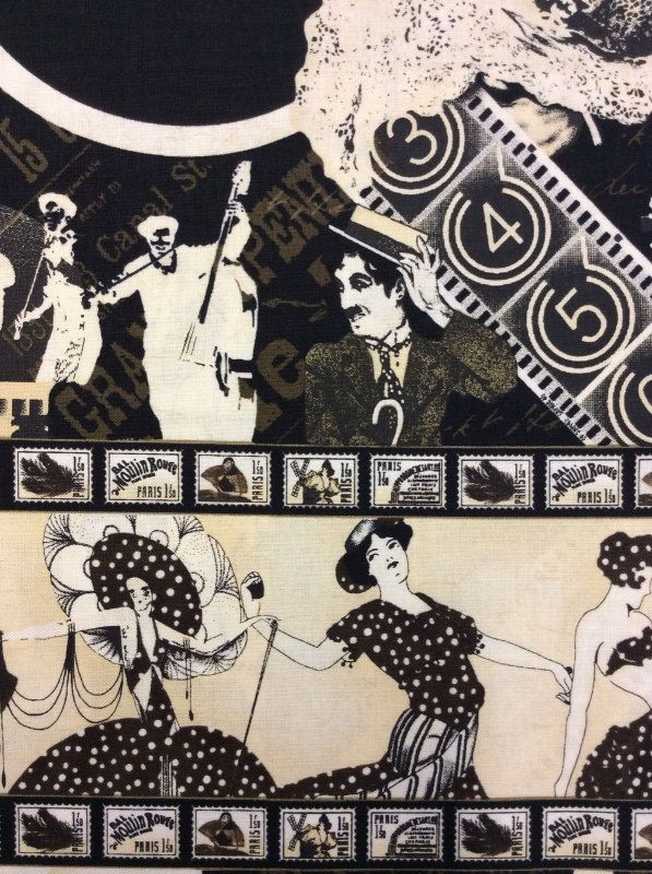 Theater Drama 1920s Performers Border Print Cotton Fabric Quilt Fabric WP05