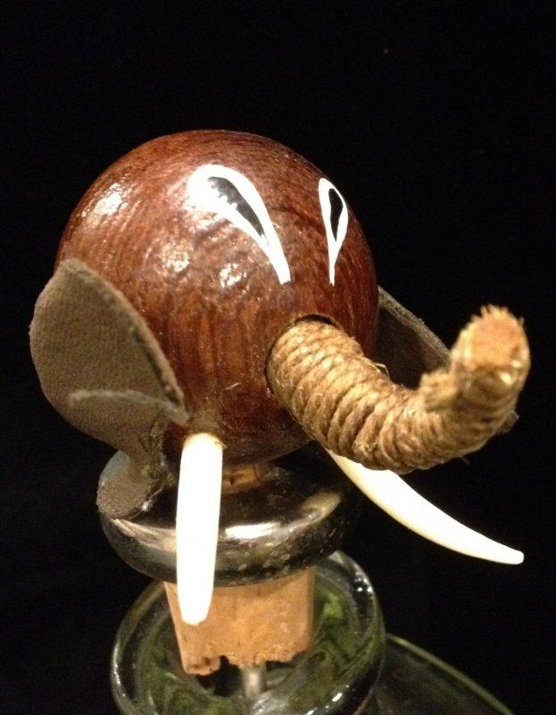 Vintage 1960s Danish Modern Teak Wood Elephant Bottle Stopper Cork Denmark #X5