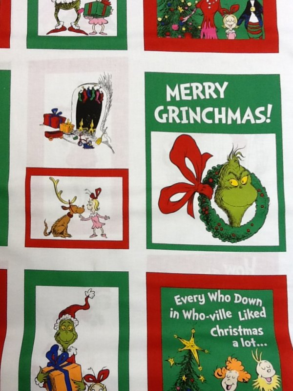 The Grinch Dr. Seuss How The Grinch Stole Christmas 24 inch panel.  Green and Red Blocks on white background Cotton Quilting Panel Fabric RK69