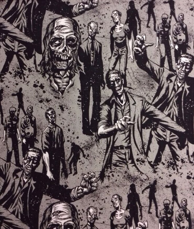 Out of Print! Alexander Henry Zombies Grey Living Dead Walking Dead Style Cotton Fabric Quilt Fabric AH59