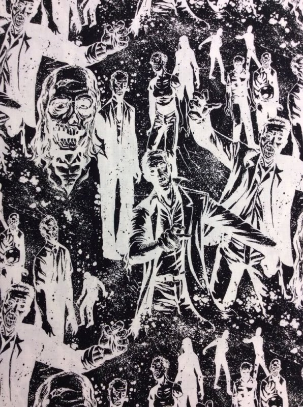 Alexander Henry Zombies Living Dead Walking Dead Style White Cotton Fabric Quilt Fabric AH60