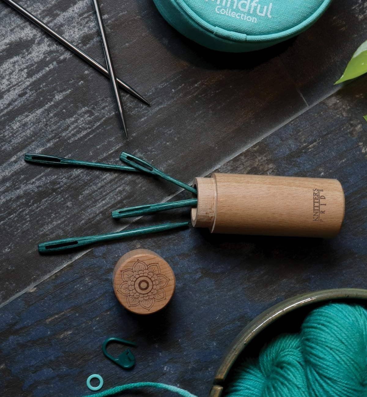 The Mindful Teal Wooden Darning Needle with Case