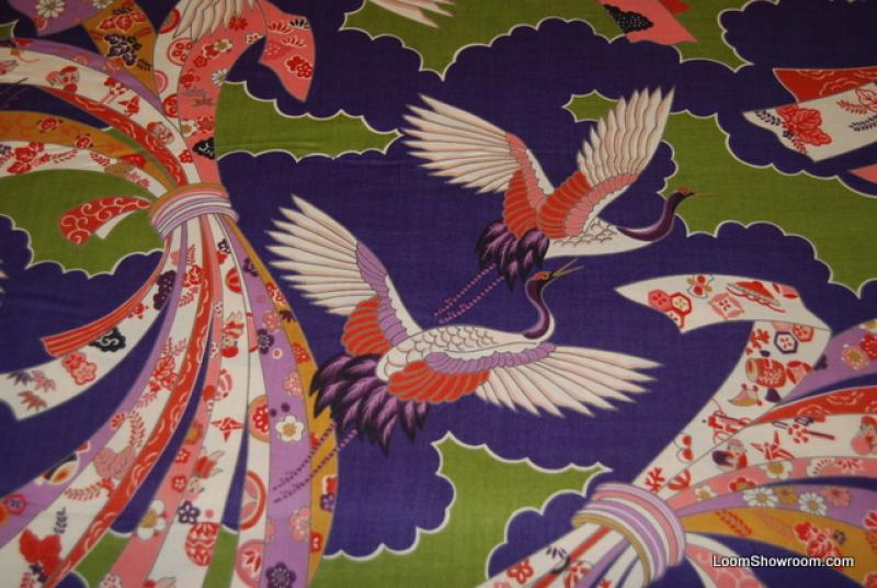 FAT QUARTER! Echino Kokka Etsuko Bird Asia Japan Purple and Green Cranes Cotton Fabric Quilt Fabric ff37 RPF221