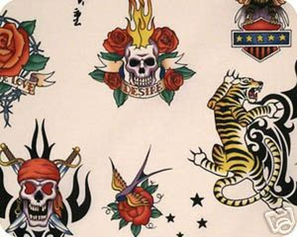 Tattoo Skin by Alexander Henry Biker Ink Skull Tiger Pink ... : tattoo quilt fabric - Adamdwight.com