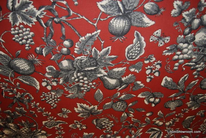 Pomegranate French Country Toile Faille Textured Cotton Fabric Heavy Drapery Fabric 302OR