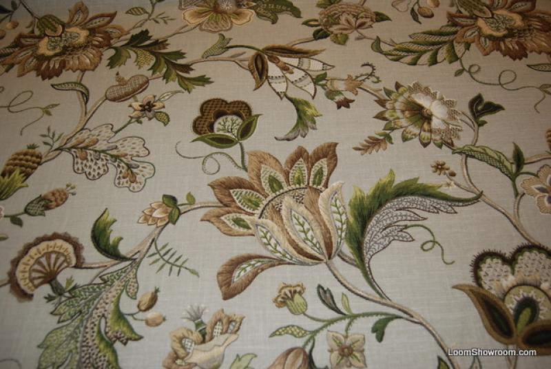 Crewel Style Printed Artwork Beautiful Floral Brissac Cotton Linen Texture Platinum Cotton Linen Fabric Drapery Fabric 306OR