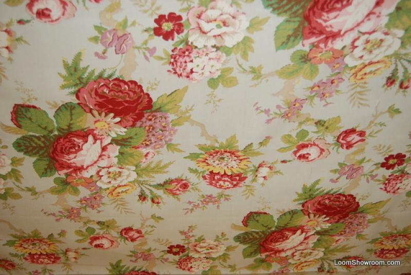 Ralph Lauren Garden Club English Country Rose Shabby Chic Fabulous Heavy Weight Cotton Fabric Drapery Upholstery Fabric311OR