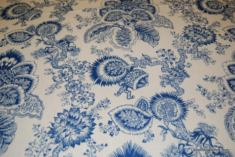 Flora Toile Indigo Pomegranate Floral Print Linen Fabric Heavy Weight Drapery Fabric 325OR