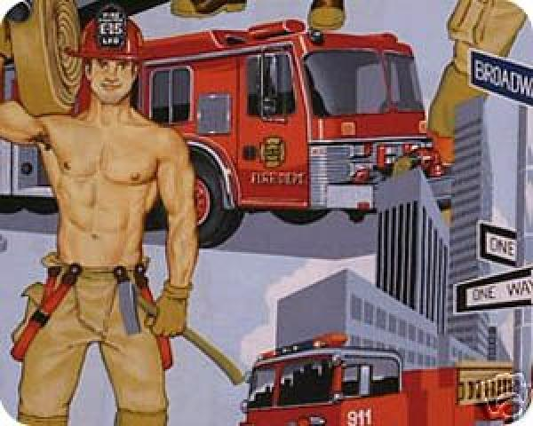 Its HOT in Here!  Sexy Firemen Boys Men Pin Up Quilt Cotton Fabric 353