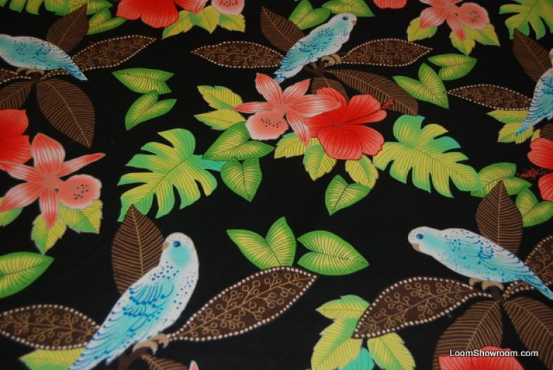 408  ah149x Montego Parrot Bird Tropical Flowers Black Extraordinary Printwork with Metallic Accent Out of Print Cotton fabric Quilt fabric