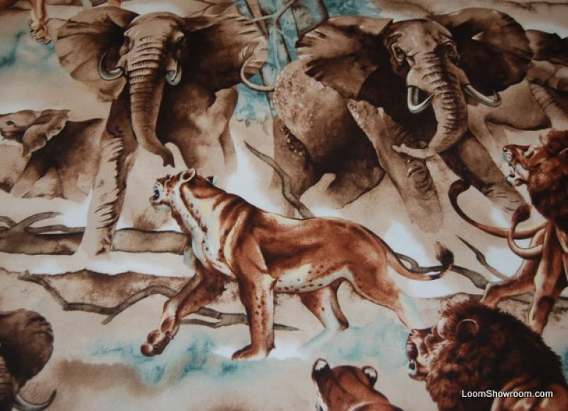 Fat Quarter! FQ412 Lions and Elephants Africa Large Scale Wildlife Artwork Cotton Fabric Quilt Fabric