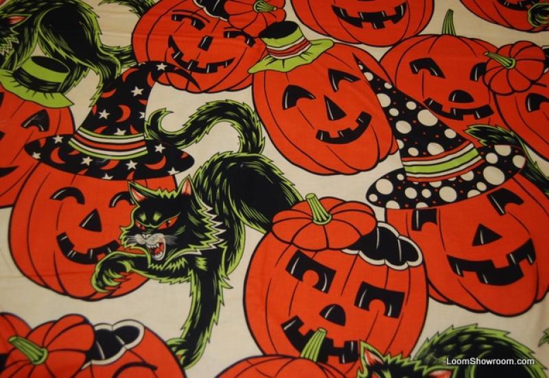 414 Scary Black Cat Pumpkin Vintage Halloween Decorations Cotton ...