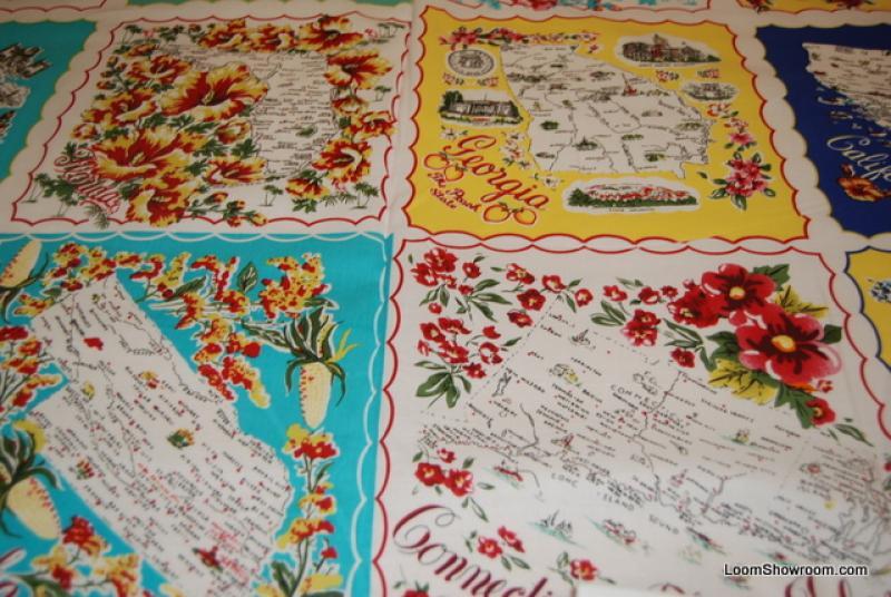 451 Vintage Handkercheif Napkin Travel USA State Cotton Fabric Quilt Fabric Panels