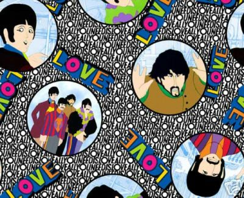 Beatles All U Need is Love Beatles SEW Cotton Fabric Quilt Fabric 512