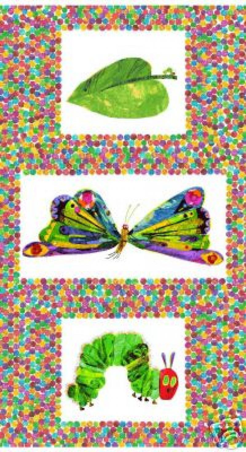 Eric Carle Very Hungry Caterpillar Cotton Fabric Watercolor Dot Panel AN36 PNL114 522