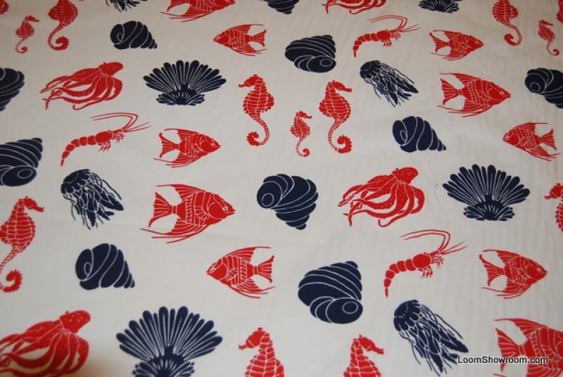 586 Ocean Sealife Seashells Fish Squid Octopus Seahorse Aquatic Wildlife Nature Cotton fabric Quilt fabric 596