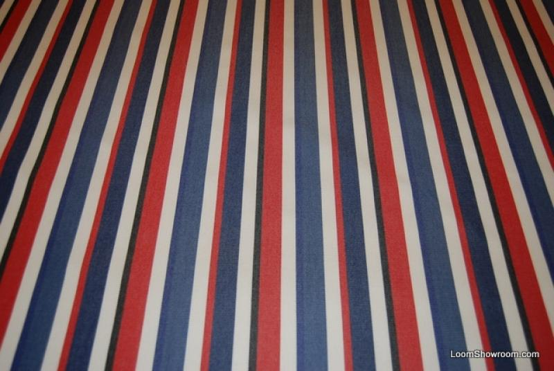 Ralph Lauren Classic Awning Stripe Famous Maker Acrylic Soft Blue Red Black White Stripe Rainbow Lollipop Outdoor fabric 730 CLOSEOUT
