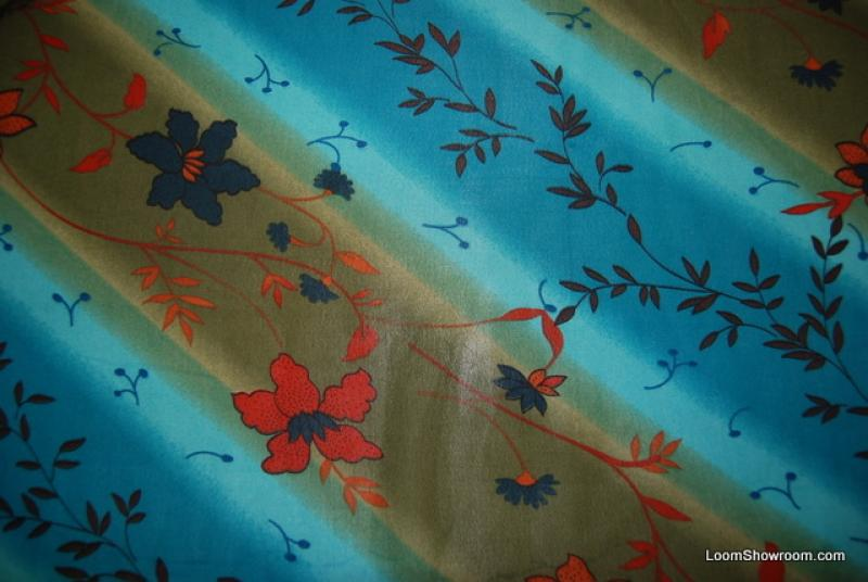 741 Sheer Floral Pattern Blue Green Cotton Fabric Quilt Fabric