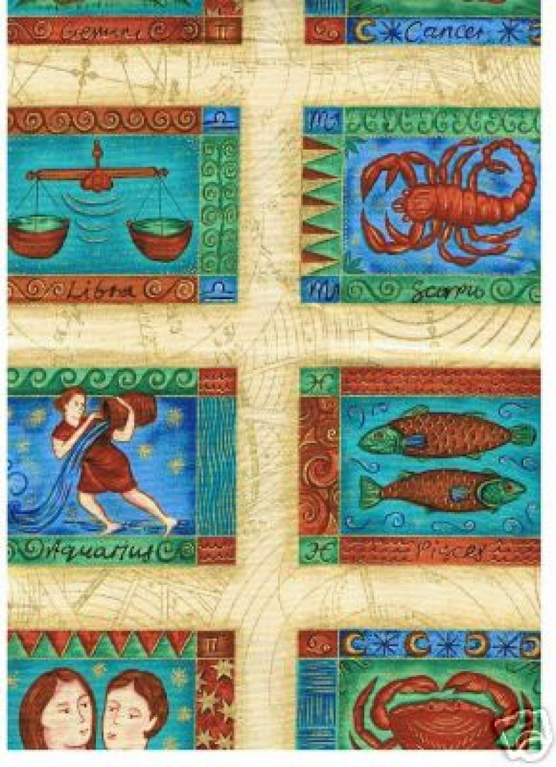 Zodiac Cream Makower Pisces Scorpio Leo Capricorn Aquarius Cotton Fabric Quilt Astrology 748