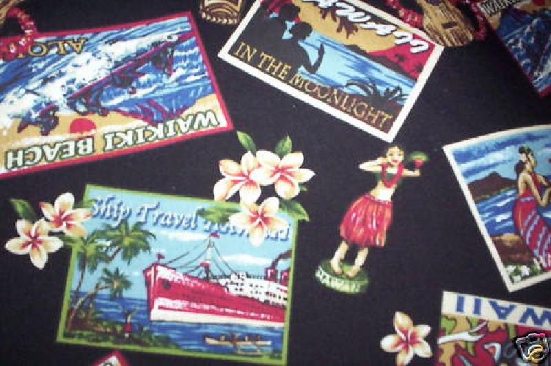 Hawaii Surf Tiki Bar 768 Retro Hawaii Surf Tiki Hula Sew Quilt Cotton Fabric