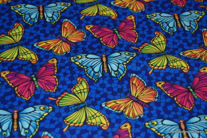 880 Stained Glass Butterfly Print Bold Color Cotton Fabric Quilt Fabric