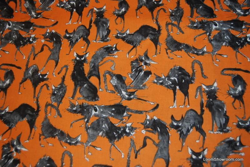 Rare! Out of Print! Alexander Henry Sebastian Ghastlies Cat Cats Kitten Orange Halloween Cotton Fabric Quilt Fabric FQA200