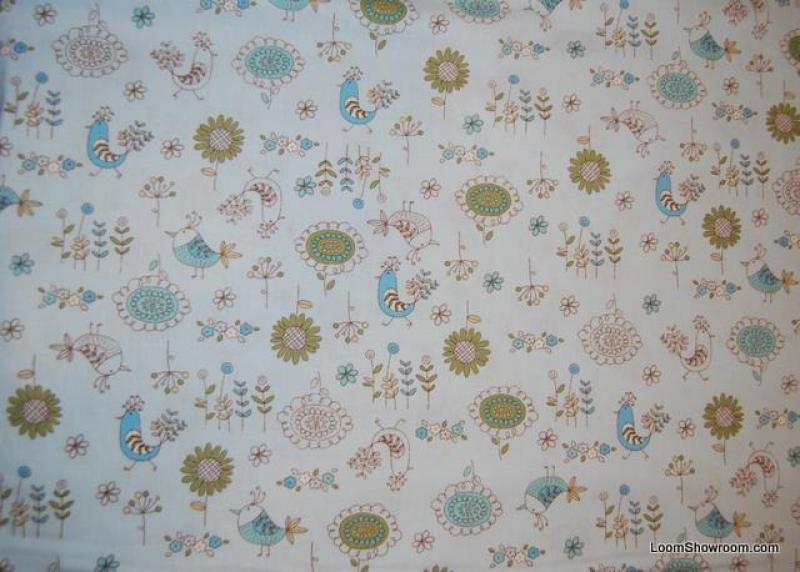 A214 Chick a Dee Retro Bird Flower Scandinavian Style Cotton Fabric Quilt Fabric