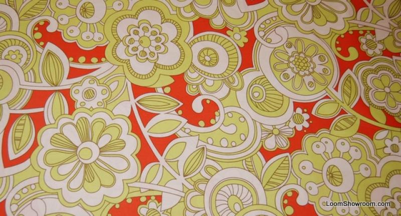 A242 Park Slope Modern Retro Floral Swirl Green White Orange Cotton fabric Quilt fabric