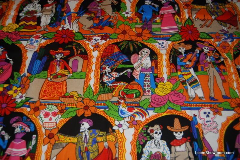A247 Posada Dia de los Muertos Day of the Dead Mexico Vida De los Muertos Day of the Dead Cotton fabric Quilt fabric