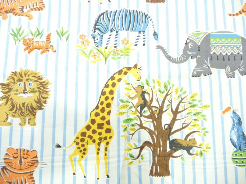Zoo Retro Blue and White Stripe Circus Animals Retro Print Cotton Fabric Quilt Fabric AB0096